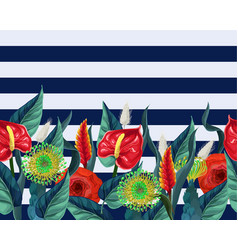 Border with anthuriums and tropical leaves vector