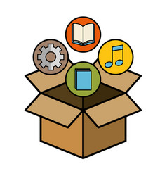 Box and objects design vector