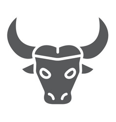 Buffalo glyph icon animal and zoo cattle sign vector