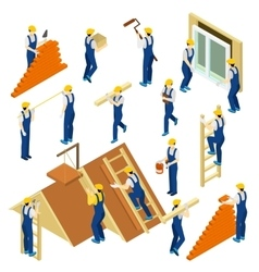 Builder Isometric Set vector