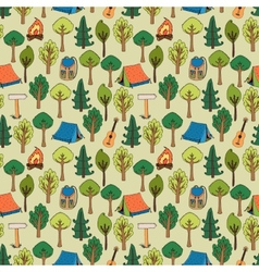 Camping and hiking background seamless pattern vector