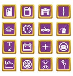 car maintenance and repair icons set purple vector image