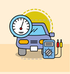 car maintenance electrical service speedometer vector image