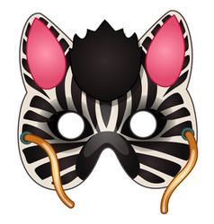 Carnival zebra mask on face drawn in cartoon style vector