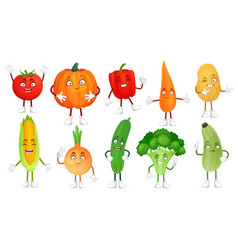 cartoon vegetable character healthy veggies food vector image