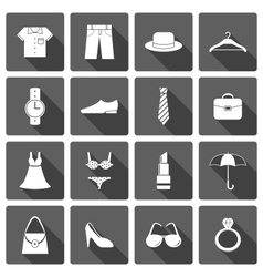 Clothes accessories shoes icons set vector