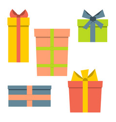 collection of five multi colored gift boxes vector image