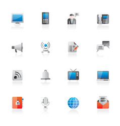 communication connection and technology icons vector image