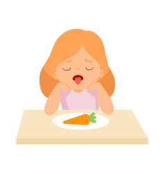Cute girl does not want to eat carrot kid does vector
