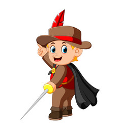 cute musketeer waving with sword vector image
