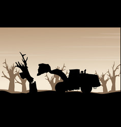 damaged forest bad environment scenery silhouette vector image