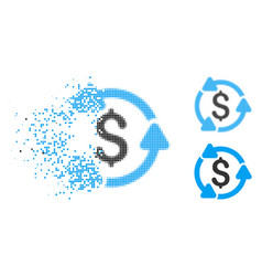 Dissolving dotted halftone money turnover icon vector