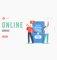 Document signing online service landing page vector