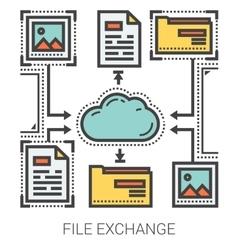 File exchange line infographic vector
