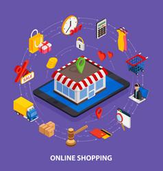 flat 3d web isometric e-commerce electronic vector image