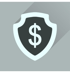Flat icon with long shadow money shield vector