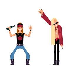 Flat young old rocker men set vector