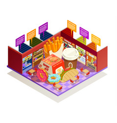 Food court interior elements isometric vector