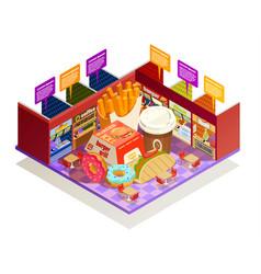 food court interior elements isometric vector image