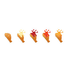 Fried chicken legs with sauces vector