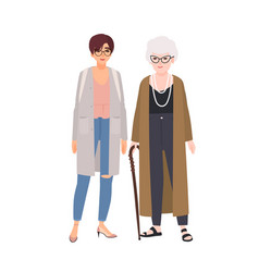 funny grandmother and granddaughter standing and vector image