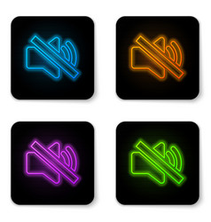 glowing neon speaker mute icon isolated on white vector image