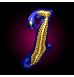Golden and blue letter j vector