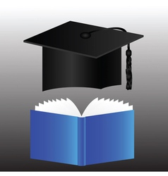Graduation cap and book vector