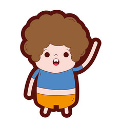 Gratd boy with curly hair and amazed face vector