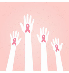 Hands with Pink Breast Cancer Awareness Ribbon vector image