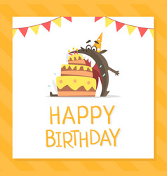 happy birthday banner template with funny monster vector image