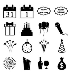 happy new year icon set vector image