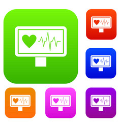 heartbeat set collection vector image