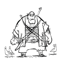 Huge funny pirate and seagulls vector