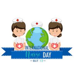 International nurse day logo with cute nurses vector