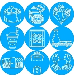Japanese food blue round icons vector