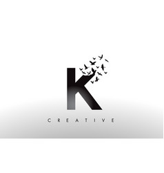 K logo letter with flock of birds flying and vector