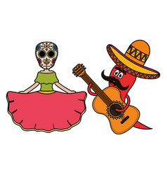 katrina and chilli pepper characters vector image