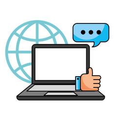 laptop speech bubble like world call center vector image