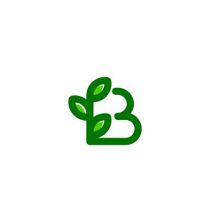 leaf letter b logo icon design vector image