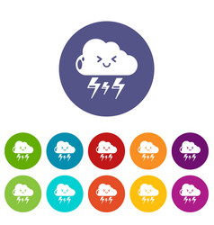 lightning icons set color vector image