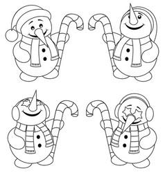 Little snowman line art vector