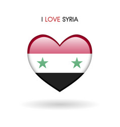 love syria symbol flag heart glossy icon on a vector image