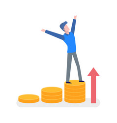 man standing on coins with hands up arrow vector image