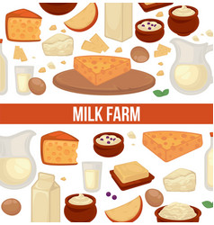Milk farm promo poster with seamless pattern of vector