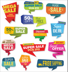 modern origami sale stickers and tags collection 2 vector image