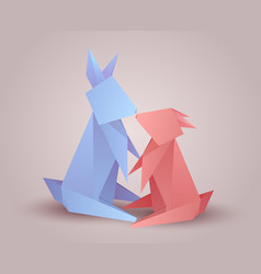Pair origami hares 3d rabbits zoo family vector