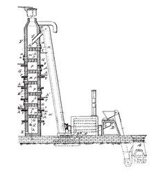 Pig iron manufacturing apparatus vintage vector