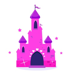 Pink princess cartoon castle isolated on white vector