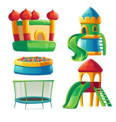 Playroom in kindergarten with slide and trampoline vector